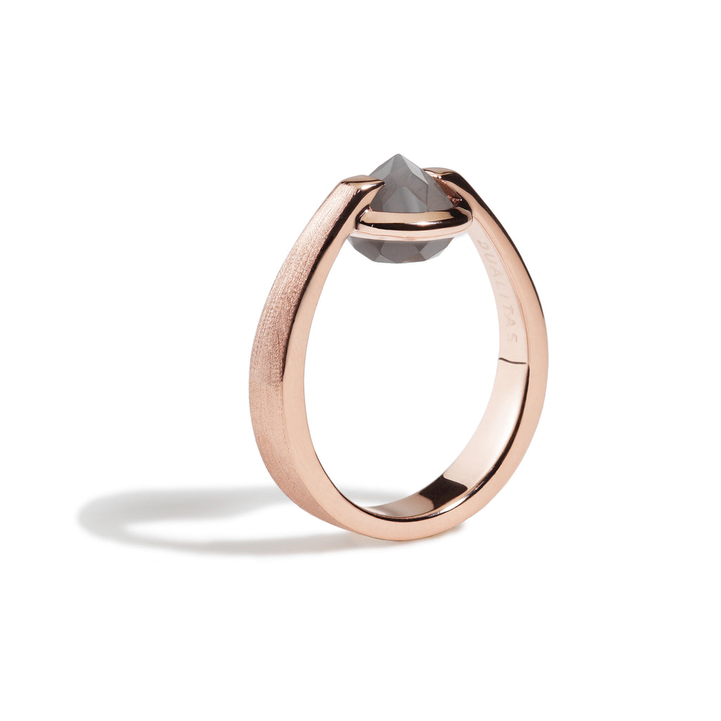 Intuition - 3 Ct Gray Moonstone Brushed Rose Gold Ring