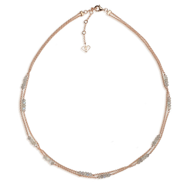 Orchid - Labradorite Rose Gold Necklace