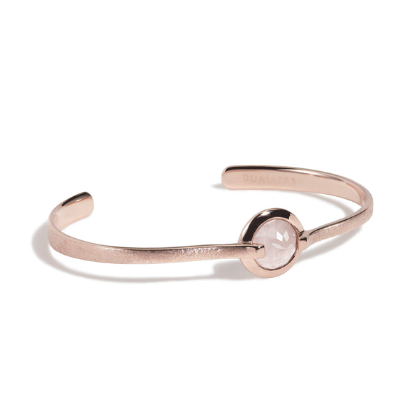 Love - 6 Ct Rose Quartz Brushed Rose Gold Cuff