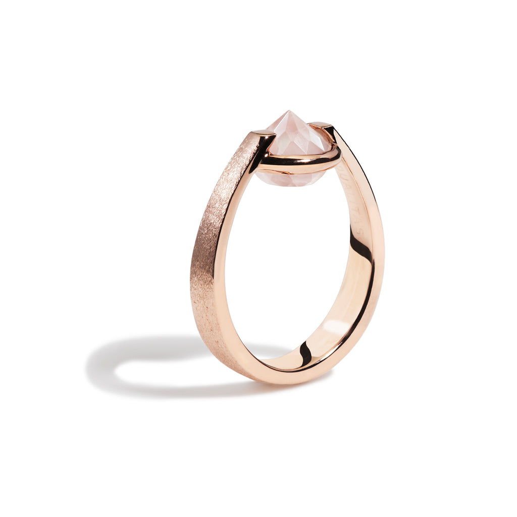 Love - 3 Ct Rose Quartz Brushed Rose Gold ring