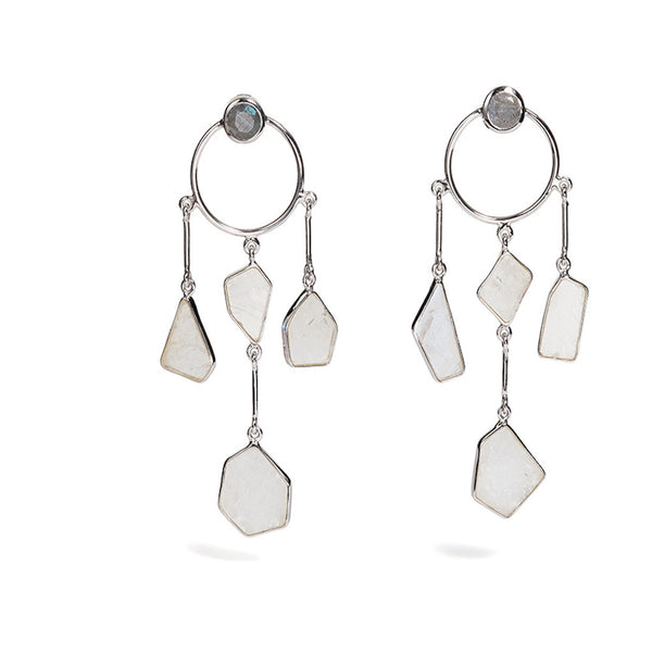 Clea - Rainbow Moonstone Dream Earrings