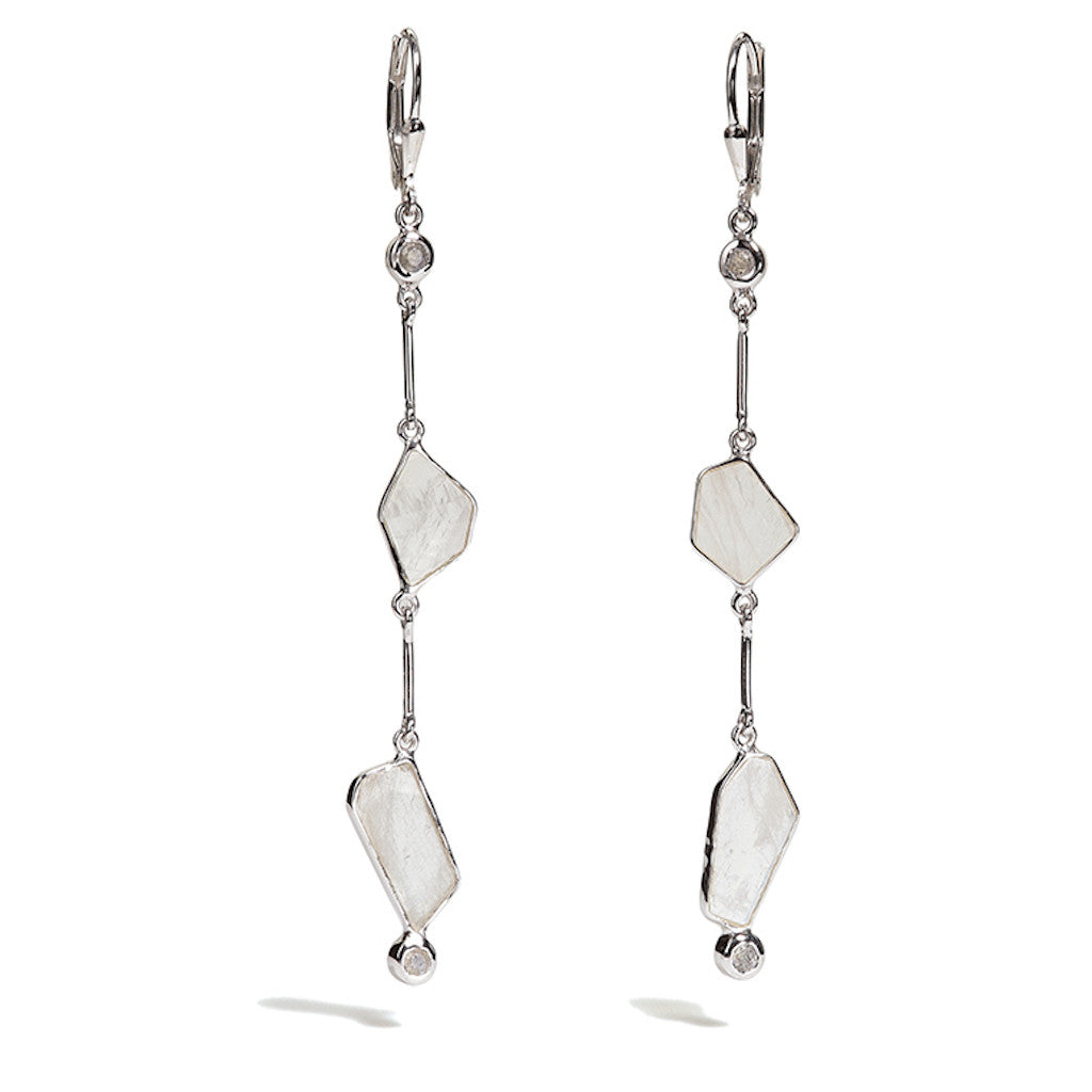 Clea - Rainbow Moonstone Link Earrings