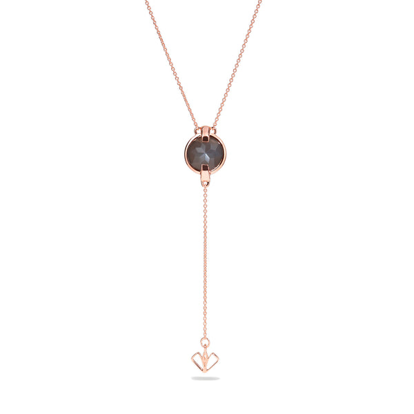 Intuition - 9 Ct Gray Moonstone Polished Rose Gold Arrow Pendant