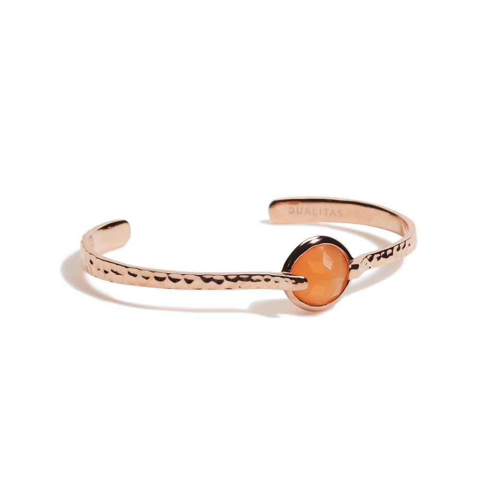 Calm -  9 Ct Peach Moonstone Hammered Rose Gold Cuff