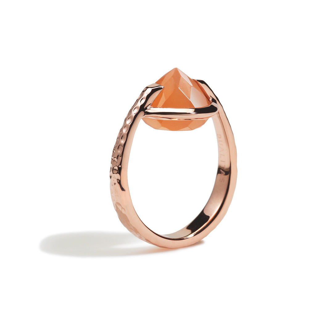 Calm - 9 Ct Peach Moonstone Hammered Rose Gold Ring