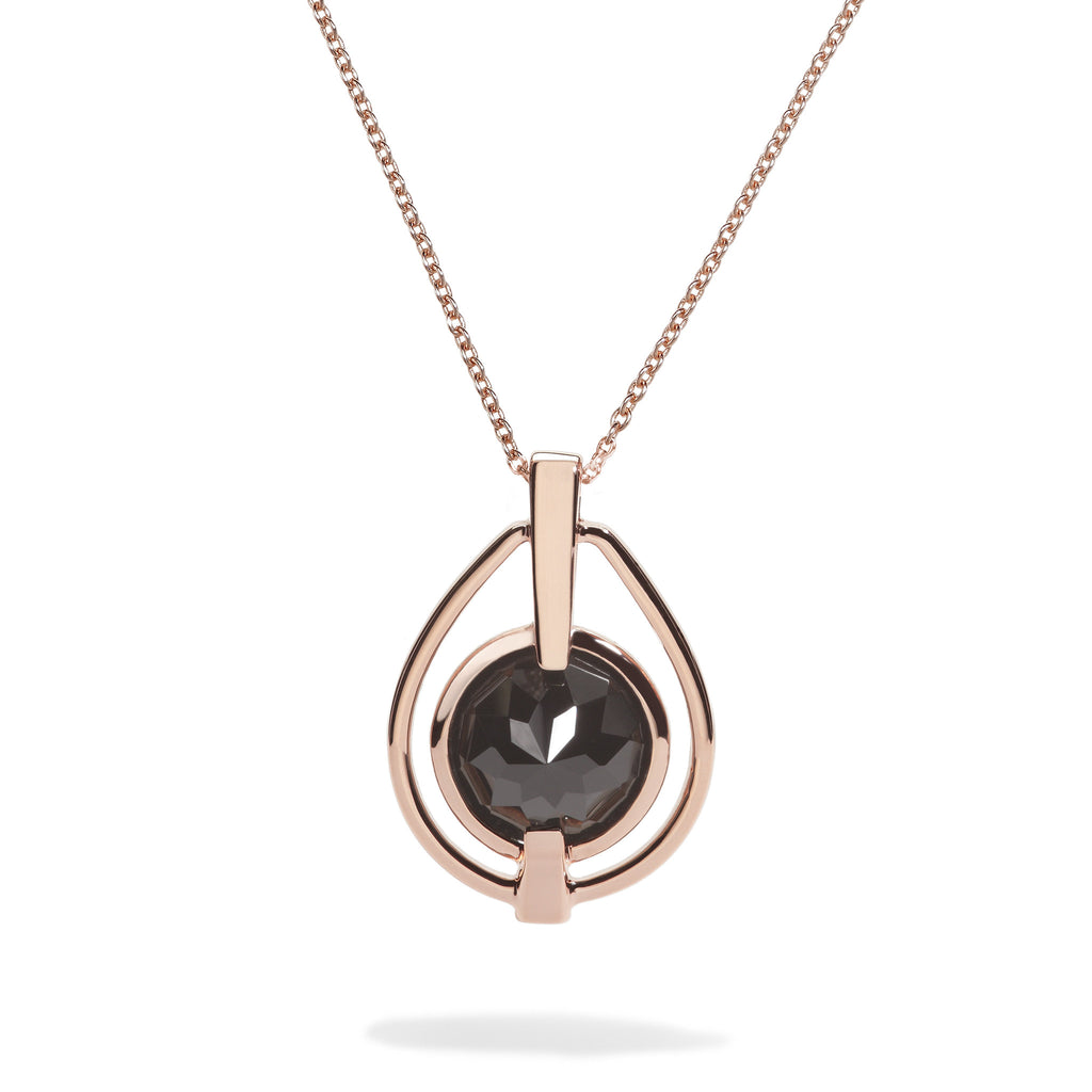 Vigor - 9 Ct Black Onyx Polished Rose Gold Deco Pendant