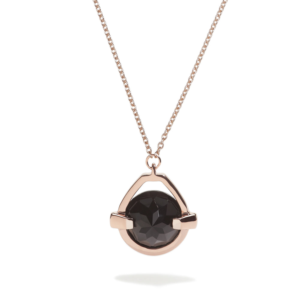 Vigor - 9 Ct Black Onyx Polished Rose Gold Drop Pendant