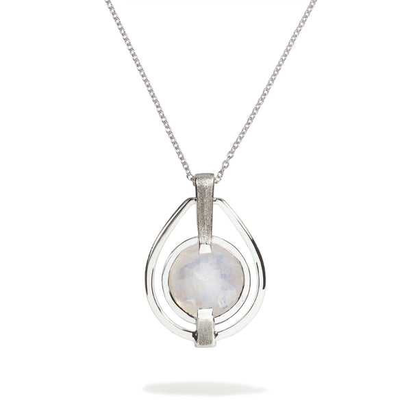 Spirituality - 9 Ct Rainbow Moonstone Brushed Silver Deco Pendant