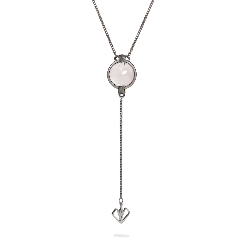 Compassion - 9 Ct Rose Quartz Brushed Gunmetal Arrow Pendant