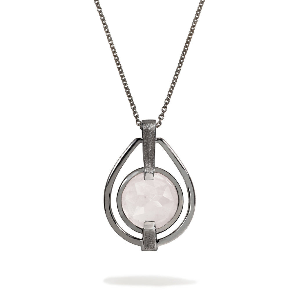 Compassion - 9 Ct Rose Quartz Brushed Gunmetal Deco Pendant