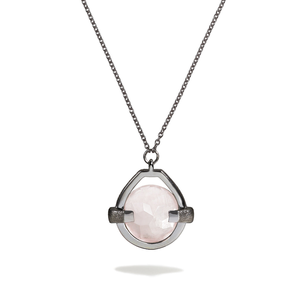Compassion - 9 Ct Rose Quartz Brushed Gunmetal Drop Pendant