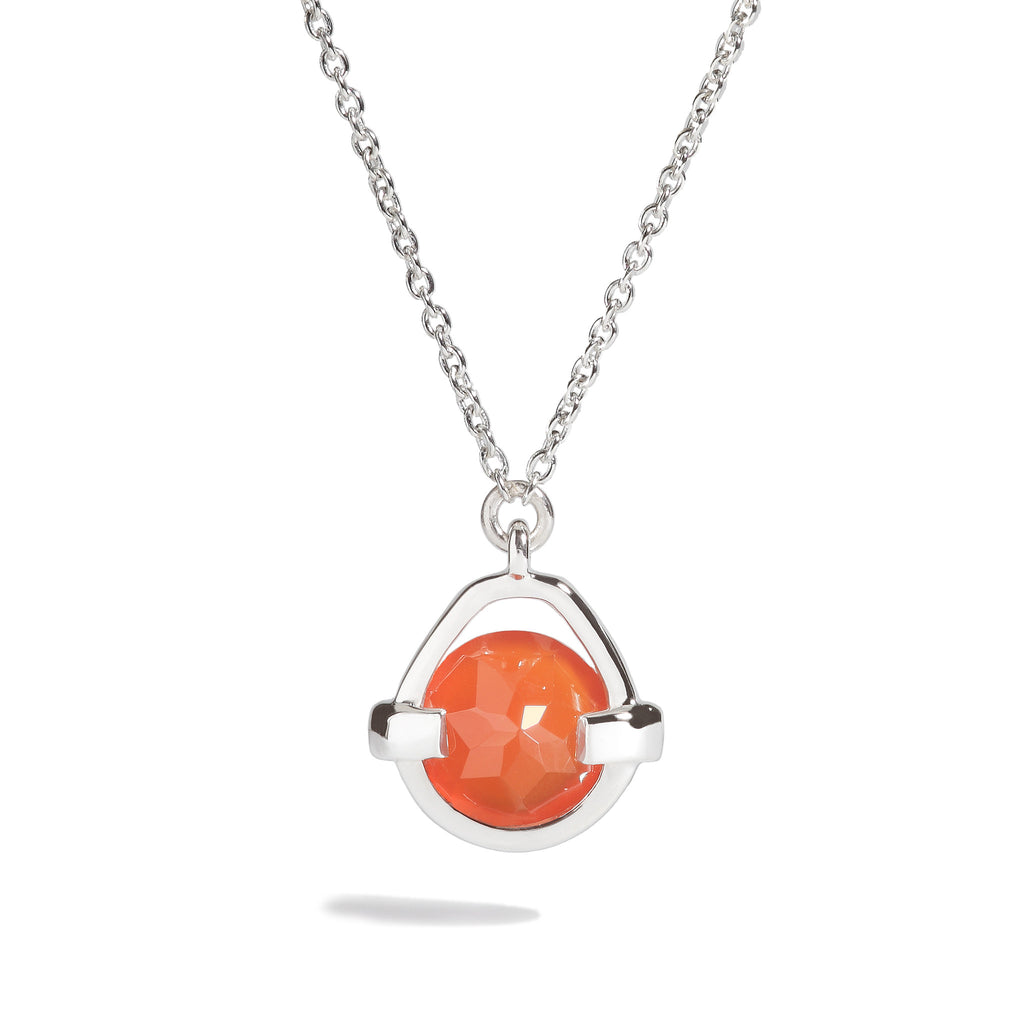 Fate - 3 Ct Red Onyx Polished Silver Droplet Pendant