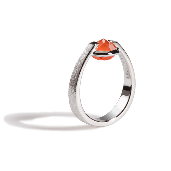 Fate - 3 Ct Red Onyx Brushed Silver Ring