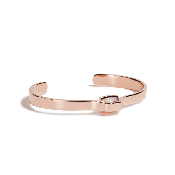 Compassion - 5 Ct Rose Quartz Polished Rose Gold Cuff