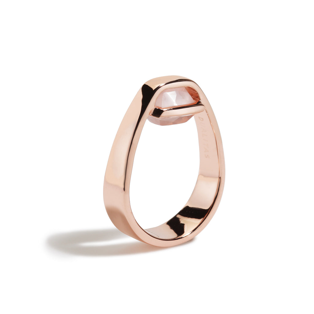 Compassion - 3 Ct Cushion Rose Quartz Polished Rose Gold Ring
