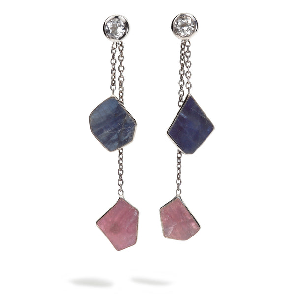 Echo - Sapphire and Ruby Gunmetal Choice Earrings