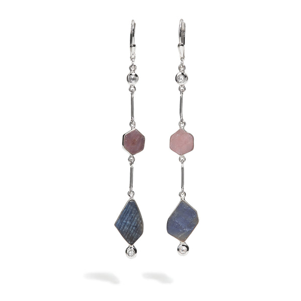 Halo - Ruby and Sapphire Link Earrings