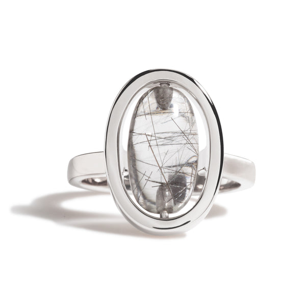 Tenacity - Black Rutilated Quartz Silver Ring
