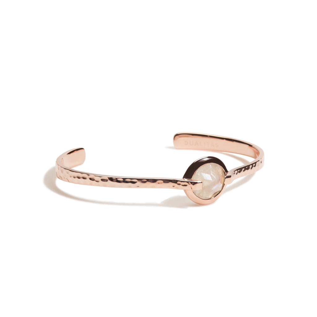 Spirituality - 9 Ct Rainbow Moonstone Hammered Rose Gold Cuff