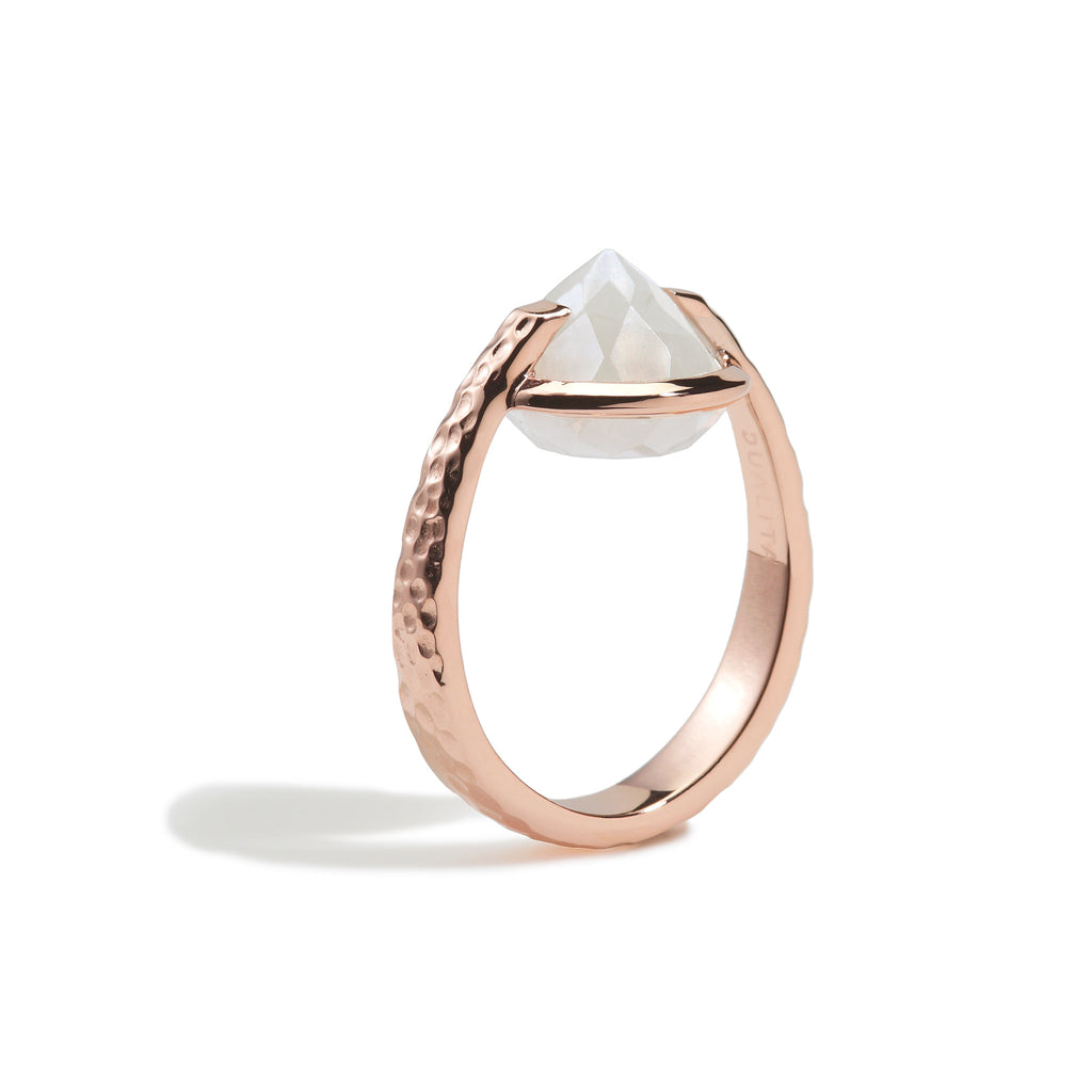 Spirituality - 9 Ct Rainbow Moonstone Hammered Rose Gold Ring
