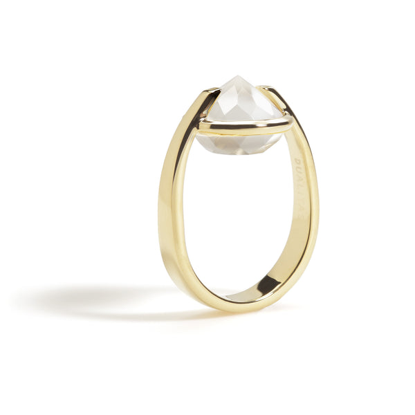 Bravery - 9 Ct White Onyx Polished Gold Ring