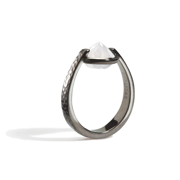 Bravery - 6 Ct White Onyx Hammered Gunmetal Ring