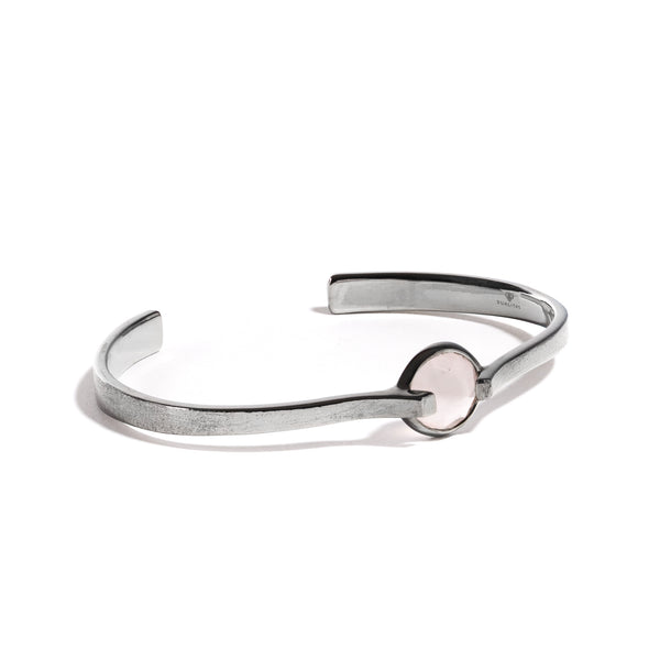 Compassion - 6 Ct Rose Quartz Brushed Gunmetal Cuff