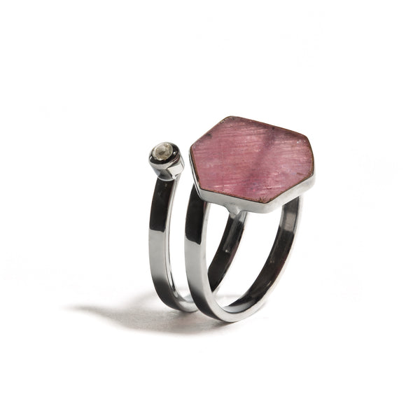 Cerise - Ruby Gunmetal Single Wrap Ring