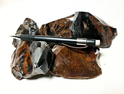 obsidian - teaching student specimens of mixed mahogany and black obsidian - Unit of 5 specimens