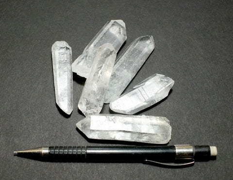 quartz crystal points - teaching student set of 6