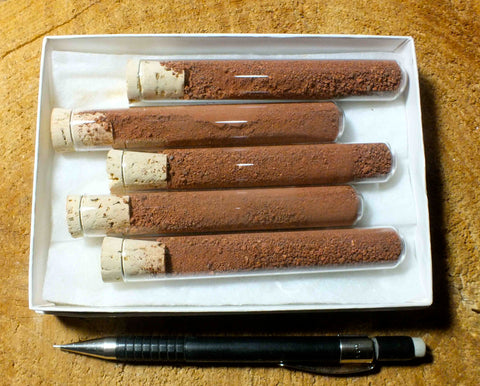 red ochre -- set of 5 tubes of this natural iron oxide pigment