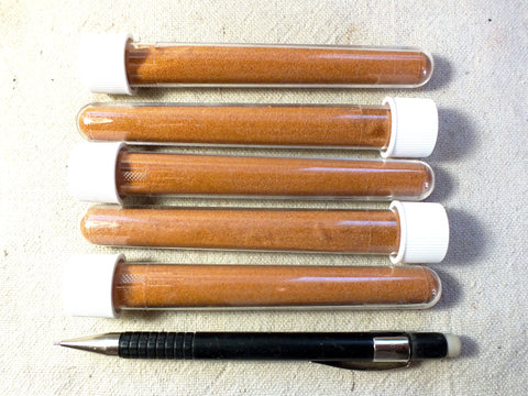 sand - dune sand - orange-pink dune sand with frosted iron-oxide coated grains derived from the Navajo sandstone - set of 5 tubes