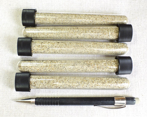 sand - quartz - angular grained beach sand, primarily quartz, from Zuma Beach, Malibu, California - set of 5 tubes