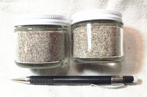 sand - garnetiferous sand composed primarily of quartz and garnet from Pfeiffer Beach, California - set of two 2-ounce jars