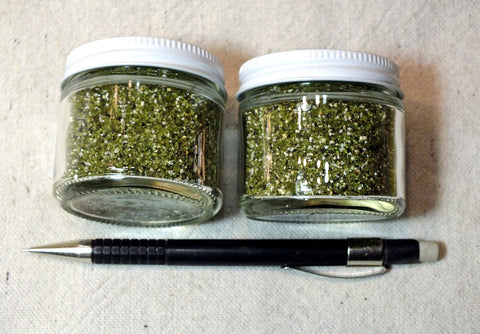 sand - set of two 2 ounce jars of sand composed primarily of olivine
