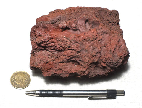scoria - teaching hand/display specimen of maroon/red scoriaceous basalt from Mauna Loa volcano