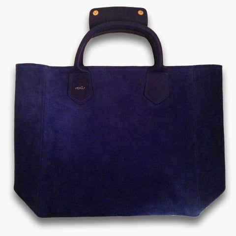 Tote bag in cobalt suede