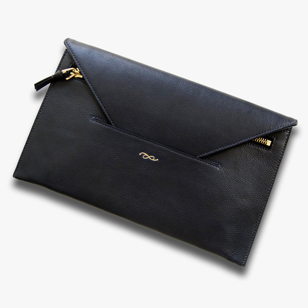 Envelope clutch in midnight blue