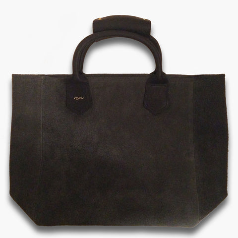 Tote bag in grey suede