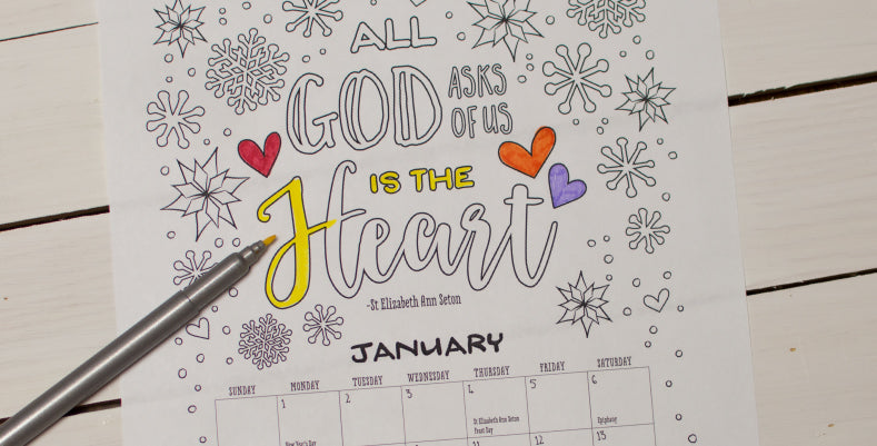Free Downloadable 2018 Coloring Calendar for girls with inspirational quotes