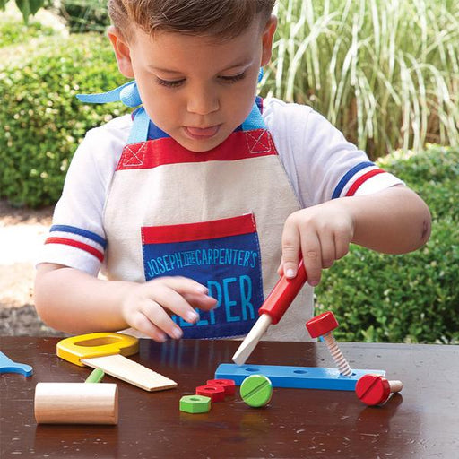 Joseph the Carpenter's Helper Tool Set + Work Apron - The Wee Believers Toy Company