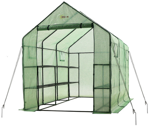 "Ogrow Very Spacious And Sturdy Walk-in 12 Shelf portable Garden Greenhouse 117"" L X 67"" W X 83"" H - World of Greenhouses - 1"