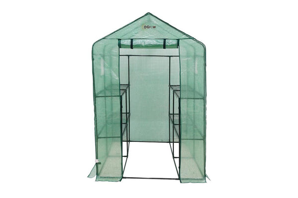 "Ogrow Large Heavy Duty WALK-IN  8 Shelf Portable Lawn and Garden Greenhouse 75"" H x 49"" W x 74"" D - World of Greenhouses - 1"
