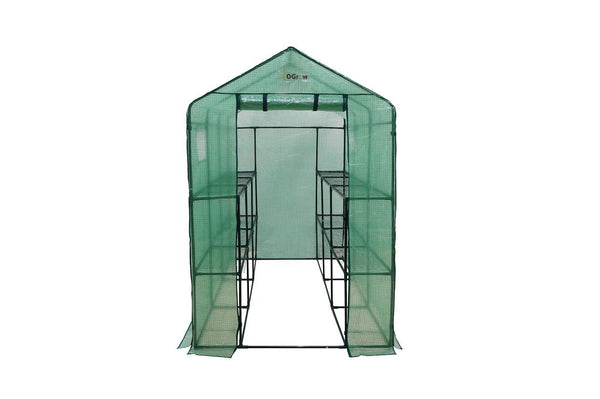 "Ogrow Extra Large Heavy Duty WALK-IN 12 Shelf Portable Lawn and Garden Greenhouse 75"" H x 49"" W x 98"" D - World of Greenhouses - 1"