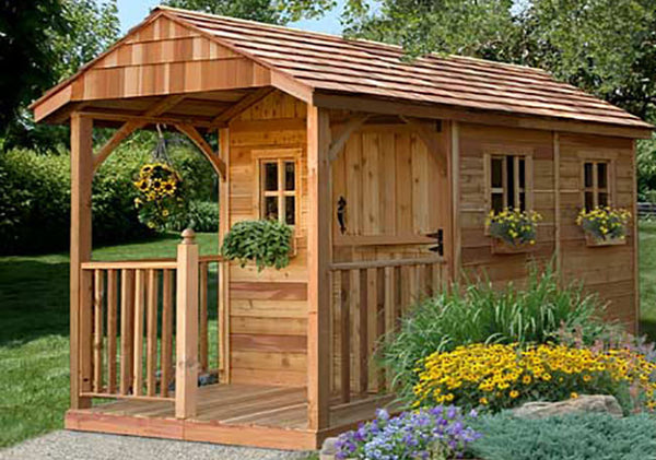 OLT 8×12 Cedar Garden Shed with Porch and Functioning ...
