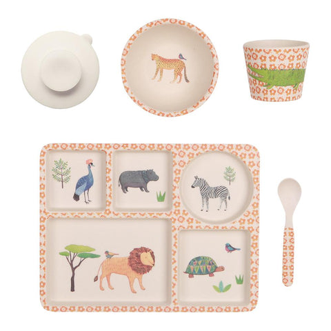 Love Mae Bamboo Dinner set with divided plate - On Safari