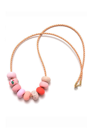 Emily Green -  Salmon Pink Ink  - Nine bead necklace