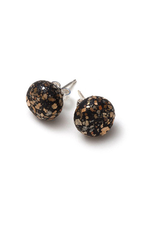 Emily Green Studs - Black Sparkle