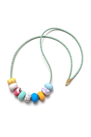 Emily Green -  Lipstick Pink - Nine bead necklace