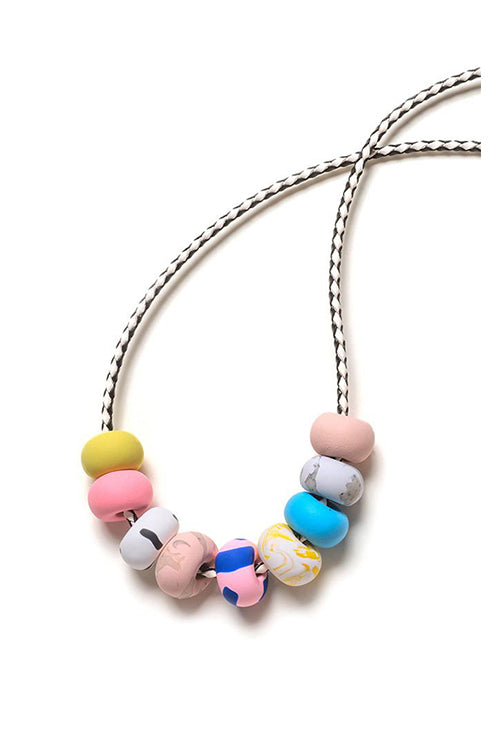 Emily Green - Blue and Rose Tape - Nine bead necklace
